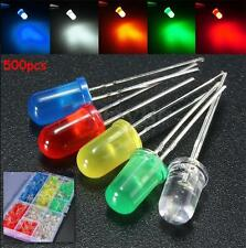 500pcs 3mm/5mm White Yellow Red Blue Green Assortment LED Diodes Lights Kit