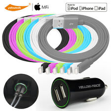 3pcs 2.4A USB Car Charger Adapter/Lightning Charge&Sync Cable Fr iPad iPhone 7 6