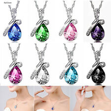 Pendant Chain Rhinestone Jewelry Necklace 2016 Crystal Heart Women HOT Silver