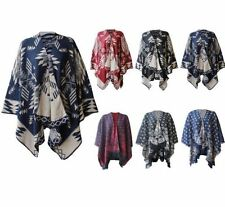 NEW WOMEN'S AZTEC PRINT WRAP SHAWL REVERSIBLE KNITTED CARDIGANS PLUS SIZE 12-30