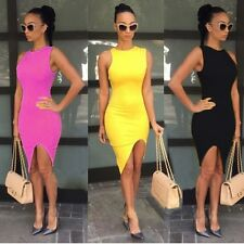 Sexy Women  Sleeveless Asymmetric Hem Solid Slim Bodycon Split Casual Dress
