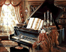 Piano Hand Painted Design Needlepoint Canvas H64