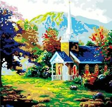 Hand Painted Design Needlepoint Tapestry Canvas -Cottage In Valley