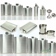 4 6 8 10 18 oz Stainless Steel Hip Flask Liquor Flagon Wine Bottle Funnel Cup