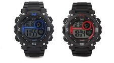Q&Q MENS DIGITAL WATCH MADE BY CITIZEN BLACK/BLUE BLACK/RED 100M 1 YR WARRANTY