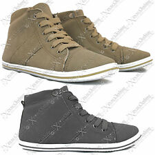 New Ladies Womens Hi Top Ankle High Boots Trainers Check Shoes Suede Look Pumps