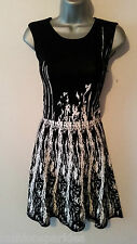 BNWT New LIPSY Black White Monochrome Stretch Skater Dress Small Medium 8 10 12