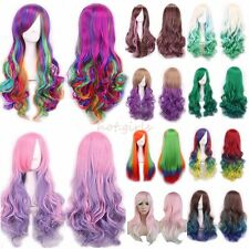 Long Curly Wavy Rainbow Wigs Women's Cosplay Costume Full Wig Party Pink Red #HP