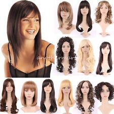 Real Soft Womens Full Head Wigs Natural Curly Wavy Hair Wig Side Fringe Bangs #L