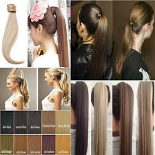 US Real Clip in Hair Extensions Wrap Around Ponytail Brown Curly Human Made f87