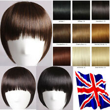Premium Deluxe 8'' Straight Clip IN Bangs Fringe Hair Extensions Human Stylish