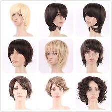 Curly Wave Straight Short Wigs Brown Synthetic Hair Costume Full Head Wig Nice