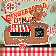 """""""Retro Diner Gingerbread"""" by Jennifer Brinley Graphic Art on Wrapped Canvas"""