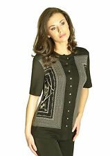 BLOUSE CAREER LIGHT STRETCH BUTTON DOWN MADE IN EUROPE BLACK NATURAL S M L XL