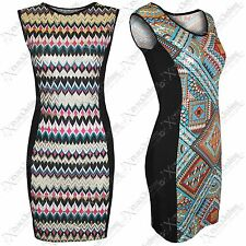 NEW WOMENS LADIES AZTEC GOLD FOIL PRINT DRESS BODYCON SLIMMING LOOK DRESSES TOPS