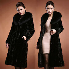 Winter Warm Women's Faux Fur Leather Thick Jacket Padded Trench Coat Outwear New
