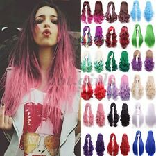 Long Curly Wavy Straight Rainbow Wigs Womens Cosplay Costume Full Wig Party #C67