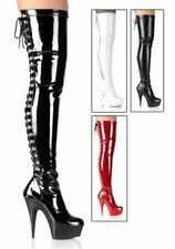 Pleaser Women's 5 3/4 Spike Heel Platform Rear Lace-Up Stretch Thigh Boot