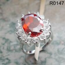 Red Garnet Women Ring 18K white gold filled Wedding Valentine's Gift R0147