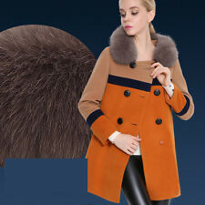 Women Wool Blend Jacket Faux Fur Collar Long Coats Outerwear Trench Winter Parka