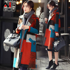 Elegant Women's Woolen Blend Jacket Winter New Plaid Coats Overcoat Trench Parka