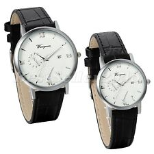Simple Couples Ultra Thin Dial Roman Numberals Leather Strap Quartz Wrist Watch