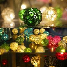 10/20/35 LED Rattan Wicker Ball String Fairy Light Plug/Battery Power Xmas Party