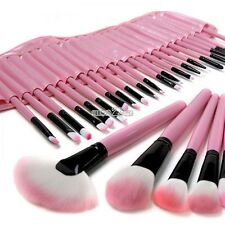 **32PCS **  Makeup Cosmetic Brushes Brush Set Kit Goat Hair + Leather Case PINK