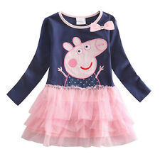 Girls Kids Peppa Pig Long Sleeve Cotton Dress T-shirt Top Tutu Clothes SZ 2-7Y