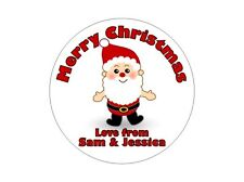 24 Personalised Round Christmas Stickers/Labels 3 FOR 2 Happy Merry Xmas Present
