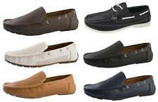 Mens Slip On Boat Deck Shoes Faux Leather Casual Loafers Comfort Moccasins Size
