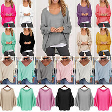 Women's Oversized Pullover Loose Sweater Casual Batwing Sleeve Baggy Jumper Tops