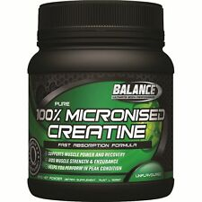BALANCE - 100% PURE MICRONISED CREATINE - ALL SIZES - MUSCLE MASS + FREE SAMPLE