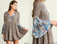 Umgee 70's FUNKY BELL SLEEVE Floral Print Dress Boho Hippie Loose Tunic Shift