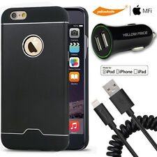 iPhone 6 6S Spiral Coiled Lightning Cable+Hard Case Shell/Car Charger+Glass Film