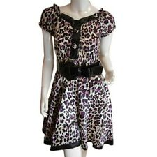 **LADIES SATIN-FEEL ANIMAL PRINT DRESS WITH BELT**