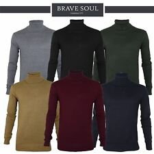 Mens Brave Soul Hume Polo Turtle Roll Neck Knitted Jumper Sweater 100% Cotton