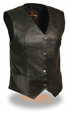 Ladies Classic Fitted Leather Vest Perfect For Motorcycle Riders
