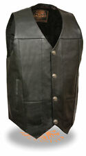 Mens Leather Vest w/ Dual Inside Gun Pockets, 1 Panel Back for Club Patches