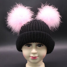 Winter Genuine Fur Pom Pom Hat Beanies Kids Hat Double Layer Rib Knit Cotton Cap
