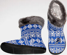 Detroit Lions NFL Slipper Booties Faux Fur Women's size Med Lg or XL, New w/Tag!