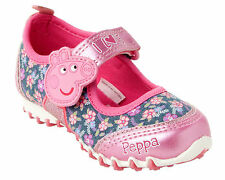 GIRLS OFFICIAL PEPPA PIG PINK BLUE FLORAL CASUAL SHOES TRAINERS UK SIZE 4-10