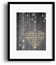 Neil Young Song Lyric Poster Art (HEART OF GOLD) Music Print Canvas Plaque Mount