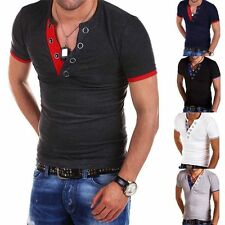 New Mens T-Shirt Short Sleeve V-Neck Solid Casual Slim Fit T-shirts Cotton Tops