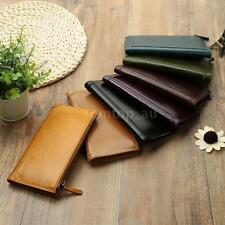 Mens Bifold Leather Wallets Business Long Wallet Credit ID Card Holder New T4I1