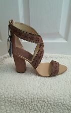 ZARA LASER - CUT LEATHER HIGH HEEL SANDALS EUR 40/41 US 9/10 REF.1531/101 NWT