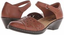 Clarks Women's Wendy Laurel Tan Leather MaryJane Wedge Sandal  WIDE