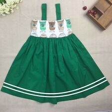 Coffee Drink Baby Girl Dress Green Sleeveless Cotton Toddler Kids Princess Party