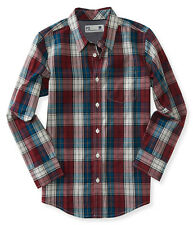 aeropostale kids ps boys' long sleeve windowpane plaid woven shirt