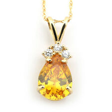 14k Yellow/White Gold Simulated Citrine & Cubic Zirconia Pear Pendant Necklace